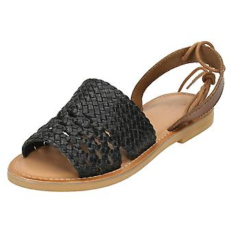 Ladies Leather Collection Flat Weaved Mule F0916