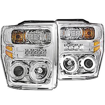 Anzo USA 111167 Ford Super Duty Chrome Projectors with Halos Headlight Assembly - (Sold in Pairs)