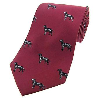 David Van Hagen Labrador Country Silk Tie - Wine