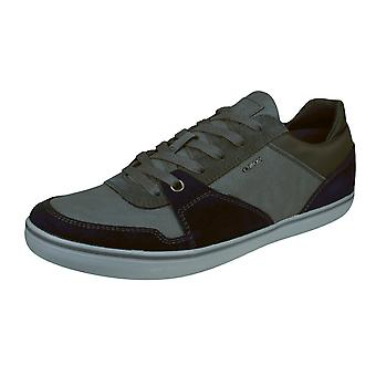 Geox U Box A Mens Leather Trainers / Shoes - Navy and Grey