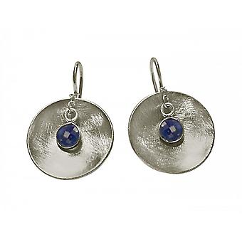 Ladies earrings 925 Silver Bowl sapphire blue 3 cm