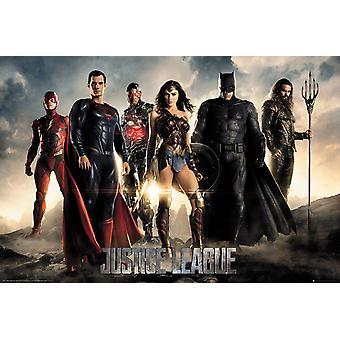 Justice League posters characters Flash, Superman, cyborg, wonder woman, Batman, Aquaman.