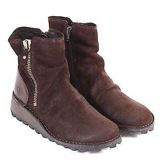 e0883597d6bcd Fly London Women's Mong Oil Suede / Leather Zip Ankle Boot Expresso / Dark  Brown