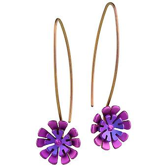 Ti2 Titanium Double Ten Petal Flower Drop Earrings - Pink