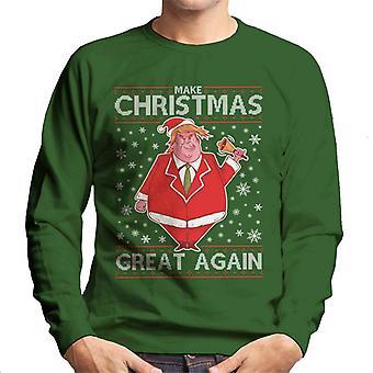 Make Christmas Great Again Donald Trump Knit Pattern Men's Sweatshirt