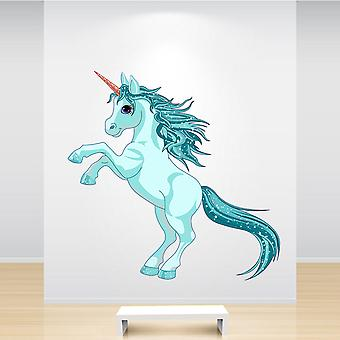 Full Colour Turquoise Aqua Unicorn Sticker
