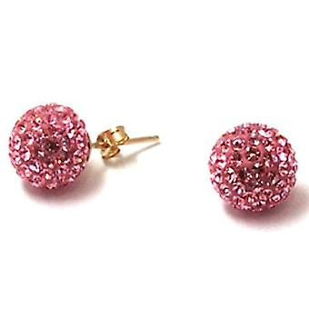 The Olivia Collection 9ct Yellow Gold 12mm Pink Crystal Disco Ball Stud Earrings