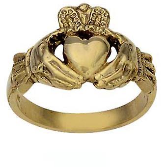 9kt guld 14mm herretoilettet Claddagh Ring størrelse Rasmussen
