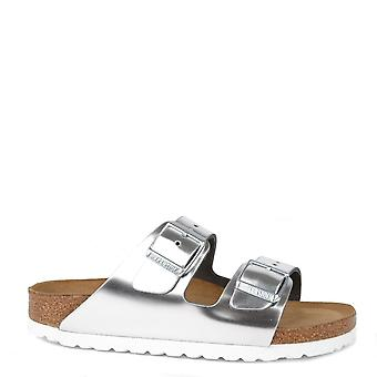 Birkenstock Arizona Silver Leather Two Strap Sandal