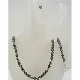 Perle Swarovski mørk brun perler 6mm halskjede øredobber & armbånd sett