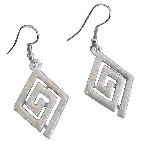 Multi Diamond Shaped White Glitter Enamel Earrings Chandelier Earrings