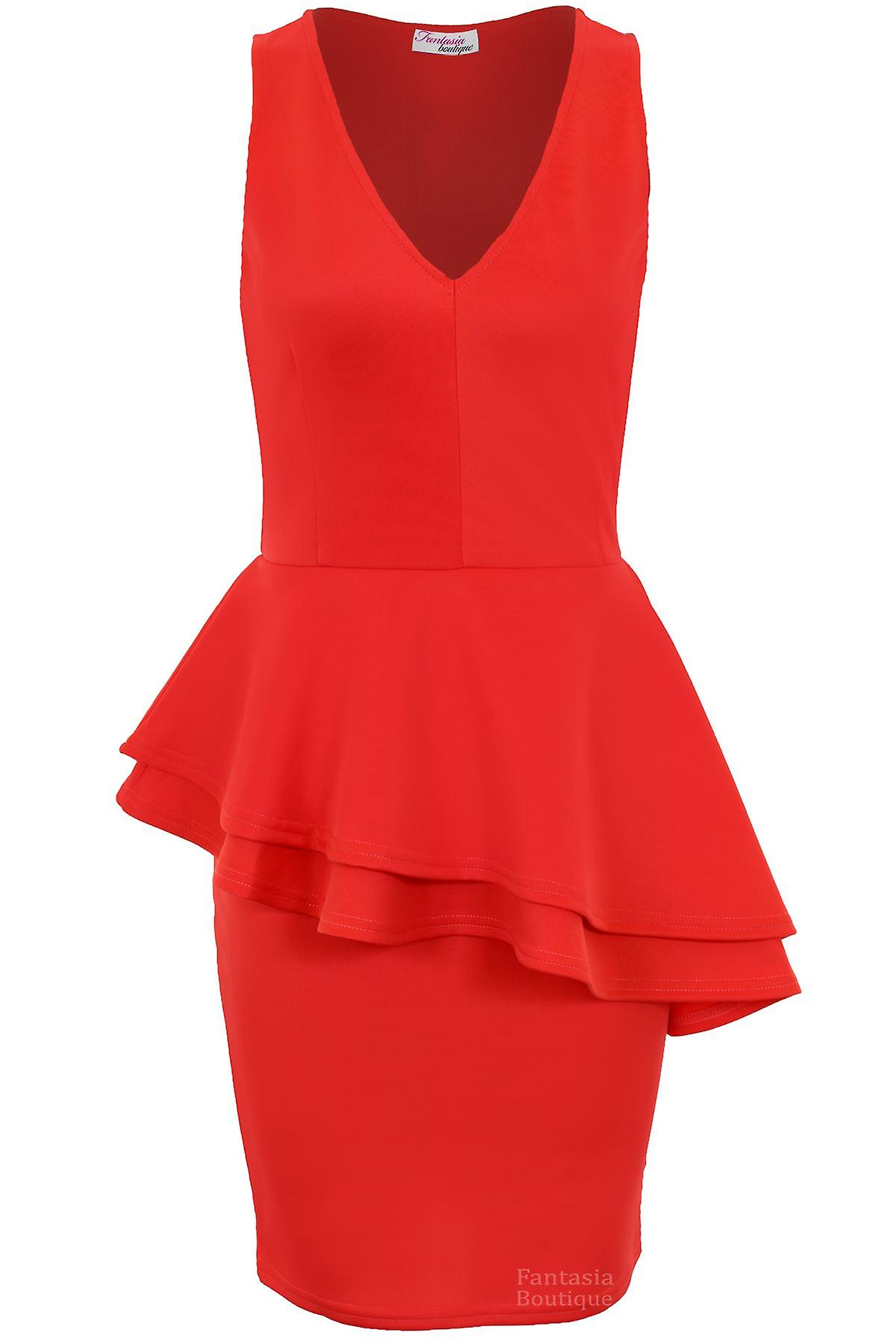 Ladies Sleeveless Side Slanted Double Peplum Frill Women's Party Bodycon Dress