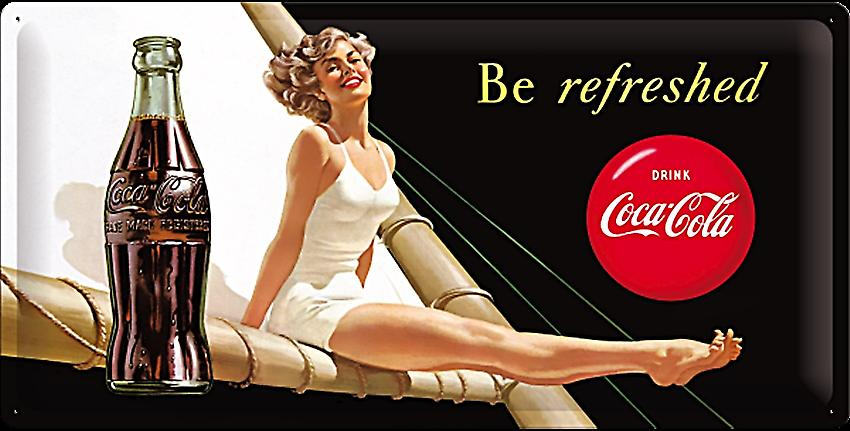 Coca Cola Be Refreshed Lady large embossed steel sign    (na 5025)