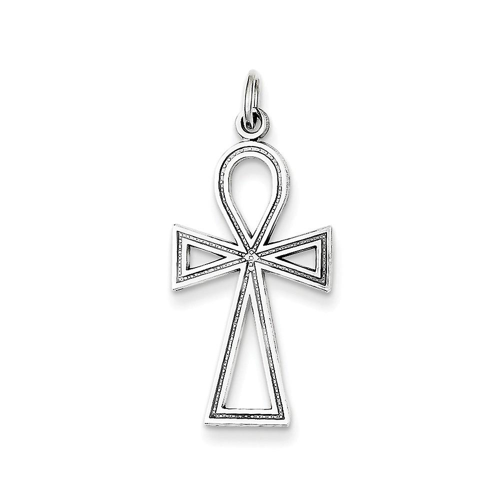 14k blanc or solide poli Texturouge back Ankh Cross pendentif - 1.6 Grams - Measures 24x12mm