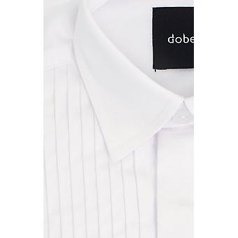 Dobell Boys White Dress Shirt Regular Fit Standard Collar Pleated Fly Front