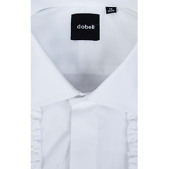 Dobell Herrenshirt weißes Kleid passen regelmäßige Rüschen vorne