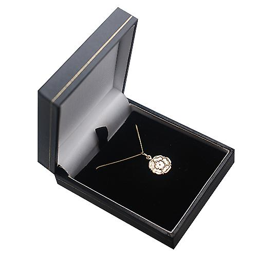 9ct yellow gold 14mm Tudor Rose of England Pendant with a Curb Chain 16 inches Only Suitable for Children