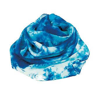 Eternal Collection Pacific Blue Multi Tie Dye Oblong Pure Silk Scarf
