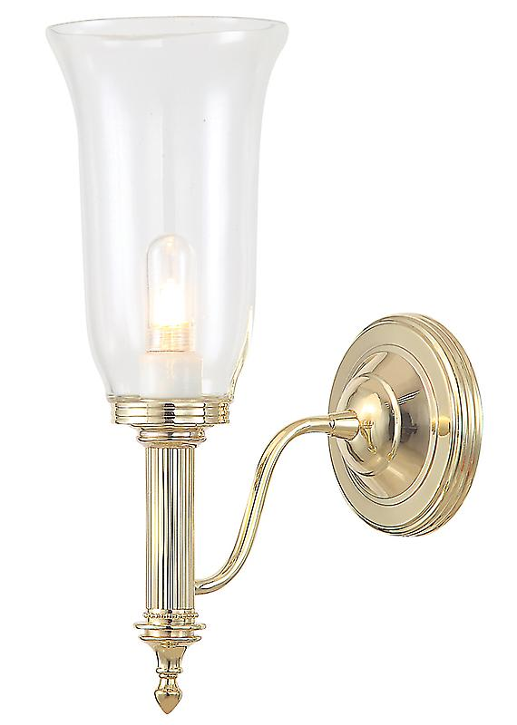 Elstead BATH/CARROLL2 PB Carroll Polished Brass Bathroom Wall Light with Clear Glass