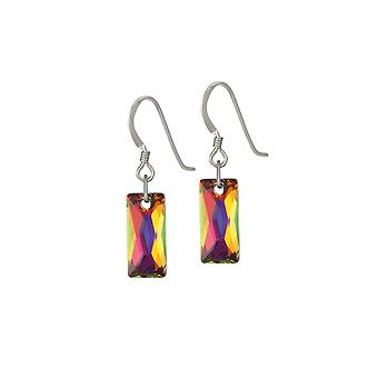 Eternal Collection Lyra Volcano Baguette Crystal Sterling Silver Drop Pierced Earrings