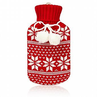 Huggable Hottie Mini Hot Water Bottle: Red Fair Isle