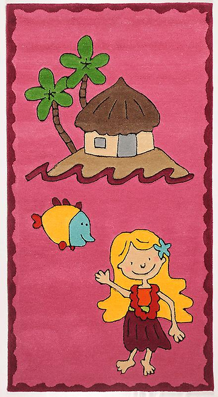 Rugs - Children\'s Pink Island Beach - 3477