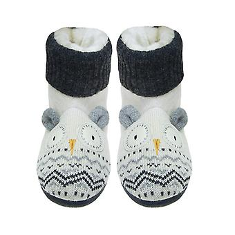 Aroma Home Snow Owl Applique Knitted Slipper Booties