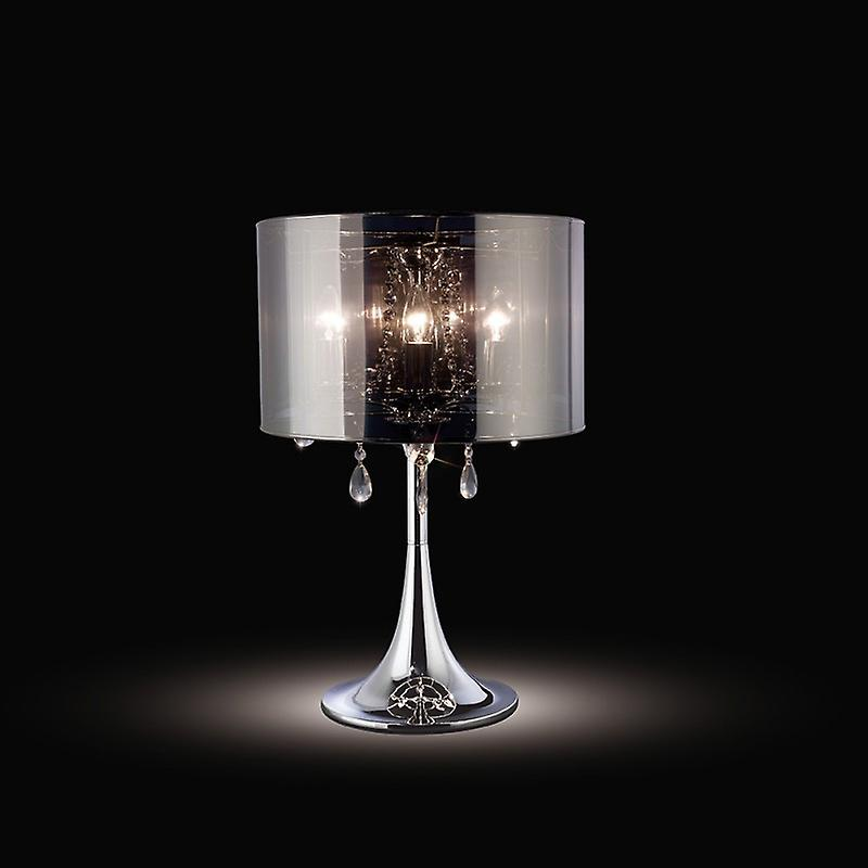 Trace Table Lamp With Chrome Shade 3 Light Polished Chrome pvc  crystal