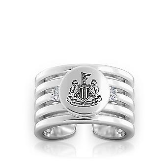 Newcastle United Fc Newcastle Crest Logo Engraved Multiband Cuff Ring