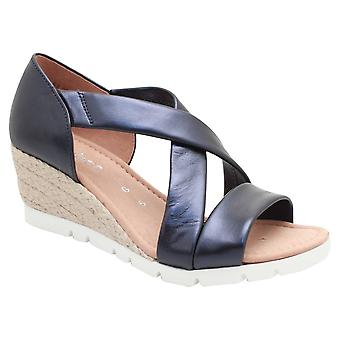 Gabor Soft Leather Navy Crossover Wedge Sandal