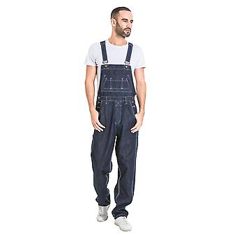 Maddox mens relaxed fit denim dungarees - dark blue