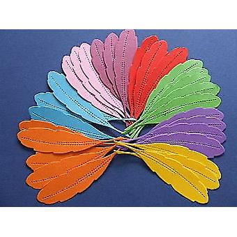 30 Assorted Bright 12cm Card Feather Shapes for Crafts