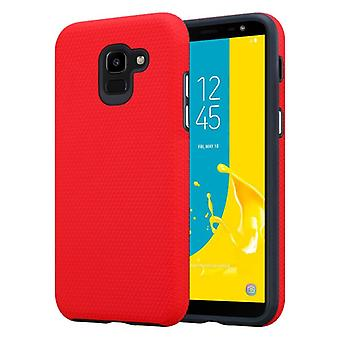 Cadorabo Case for Samsung Galaxy J6 2018 Case Cover - Outdoor Phone Case with Extra Grip Anti Slip Surface in Triangle Design made of silicone and plastic - Protective Case Hybrid Hardcase Back Case