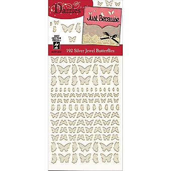Dazzles Stickers-Silver Jewel Butterflies DAZ-2537