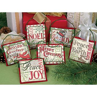 Christmas Sayings Ornaments Counted Cross Stitch Kit Up To 4