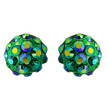 Butler & Wilson Small Round Crystal Stud Earrings - Green AB