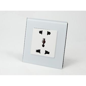 I LumoS AS Luxury White Crystal Glass Unswitched 5 Pin Multi Plug Single Socket