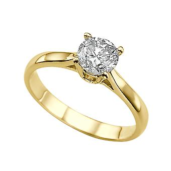 1 Carat H VS1 Diamond Engagement Ring 14K Yellow Gold Solitaire Classic Cathedral