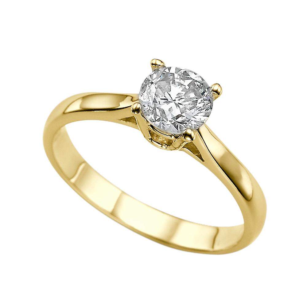 1 Carat E VS1 Diamond Engagement Ring 14K Yellow Gold Solitaire Classic Round