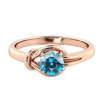 Rebbi di 0,50 CT anello acquamarina 14k Rose Gold nodo 4 tondo