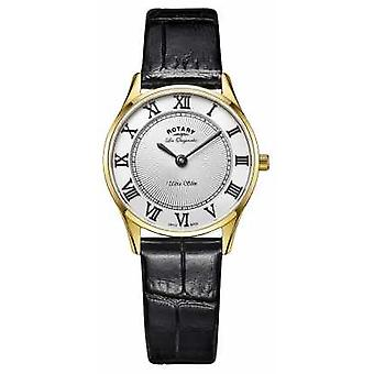 Rotary DISPLAY MODEL - Ladies Gold Plated Black Leather Strap LS90803/01 Watch