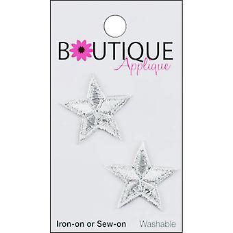 Iron-On Appliques-Silver Stars 2/Pkg A001300-210