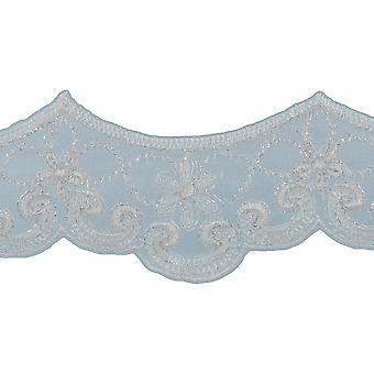 Embroidered Galloon Bridal Organza Trim 1-1/2