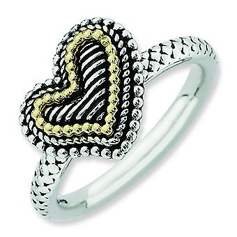 2.5mm Sterling Silver and 14k Stackable Expressions Antiqued Heart Ring - Ring Size: 5 to 10