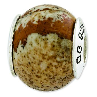 Sterling Silver Reflections Picture Jasper Natural Stone Bead Charm