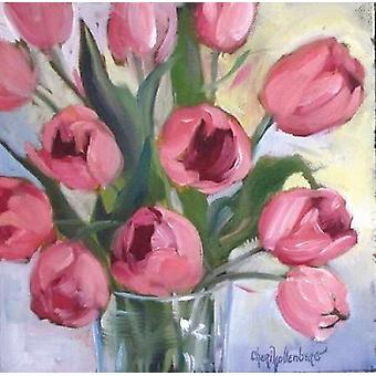 Pink Tulips Poster Print by Cheri Wollenberg
