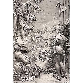 Saint John Baptist prædike i ørkenen efter et værk af Albrecht D PosterPrint