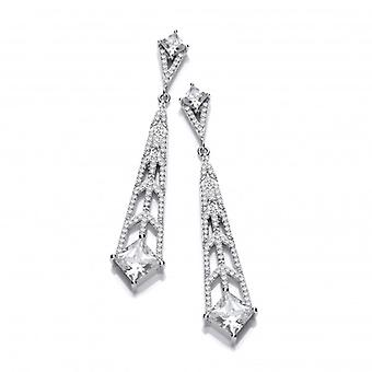 Cavendish French Silver and CZ Deco Style Chandelier Earrings