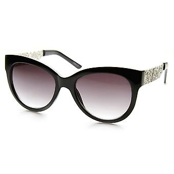 Womens Oversized Laser Cut Out Metal Temple Cateye Sunglasses