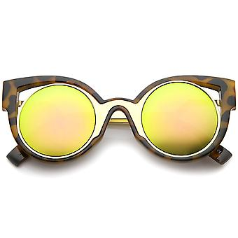 Womens Inner Metal Frame Zigzag Stepped Temple Two-Tone Cat Eye Sunglasses